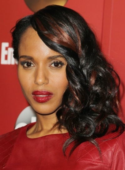 photos coiffure Kerry Washington cheveux meche rouge